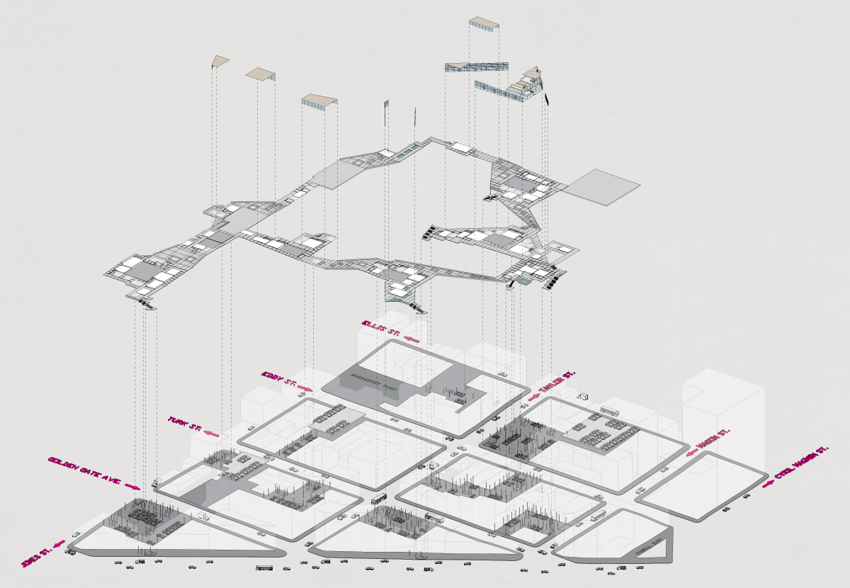 exploded axon diagram blank nerve axonometric car shadows drawing tutorial