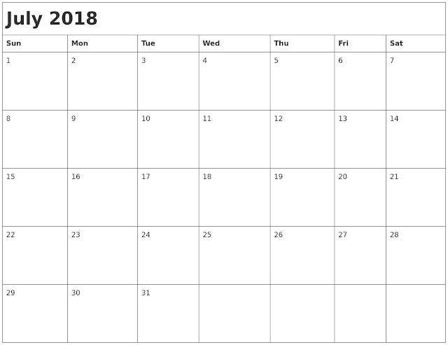 July 2018 Holiday Calendar Australia