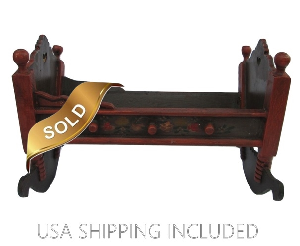 Wooden Doll Cradle With Carved Hearts