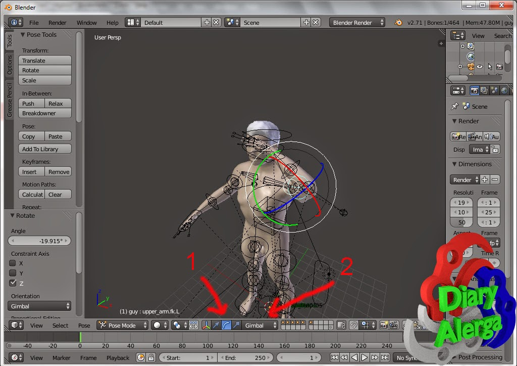 pembuatan karakter manusia 3D cepat di blender