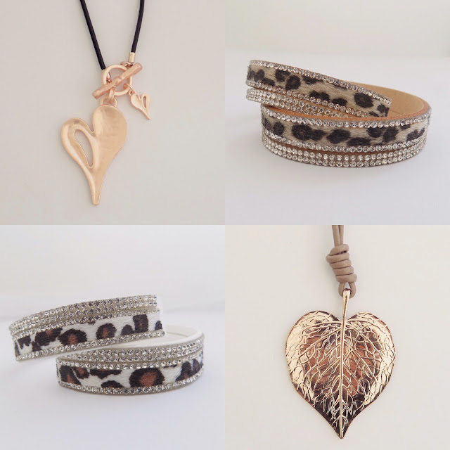 Leopard print wrap bracelet. Rose gold heart. Rose gold leaf jewellery at https://www.whatlizzyloves.com/shop/