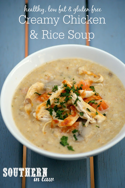 Gluten Free Creamy Chicken and Rice Soup Recipe | healthy, low fat, gluten free, clean eating friendly