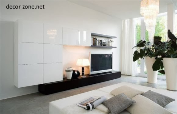 stylish tv wall units for living room in modern style. Black Bedroom Furniture Sets. Home Design Ideas