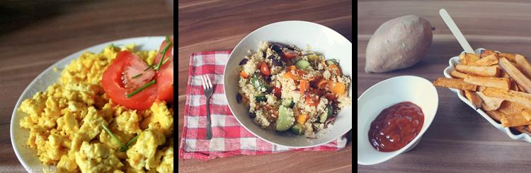 Rezepte • Rührtofu, Couscous Salat, Süßkartoffel Pommes