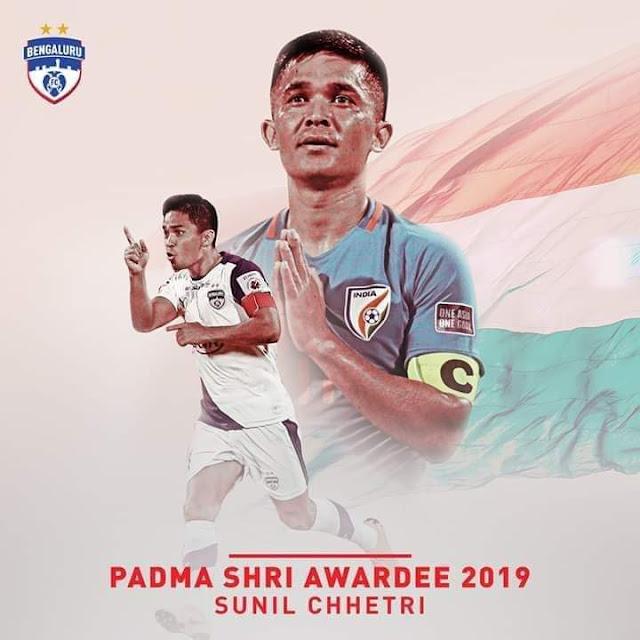 Sunil Chhetri receives the prestigious Padma Shri 2019