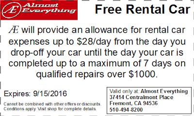 Coupon Free Rental Car August 2016