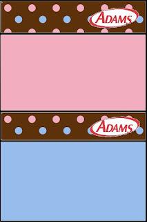 Etiqueta Golosinas Adams para Imprimir Gratis de Lunares Celeste y Rosa en Fondo Chocolate.