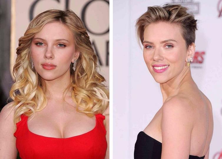Trumpa šukuosena moterims Scarlett Johansson