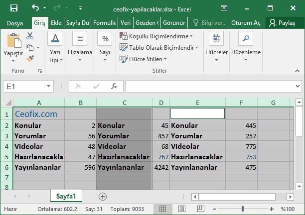 Excel'de gizlenen satır ve sütunları topluca göster-www.ceofix.com