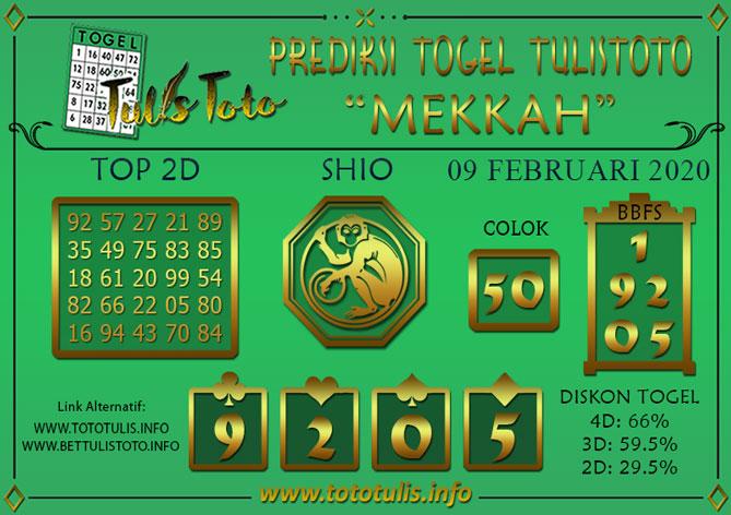 Prediksi Togel MEKKAH TULISTOTO 09 FEBRUARI 2020