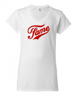 White, slim fit red 1980s Fame logo Tee for women
