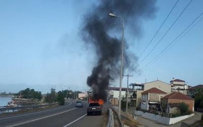 «Λαμπάδιασε» αυτοκίνητο εν κινήσει στην εθνική οδό της Κρήτης