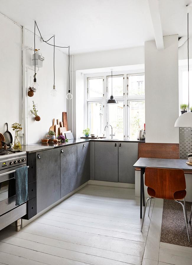 Insp rate una cocina gris con comedor integrado boho for Cocinas con salon integrado