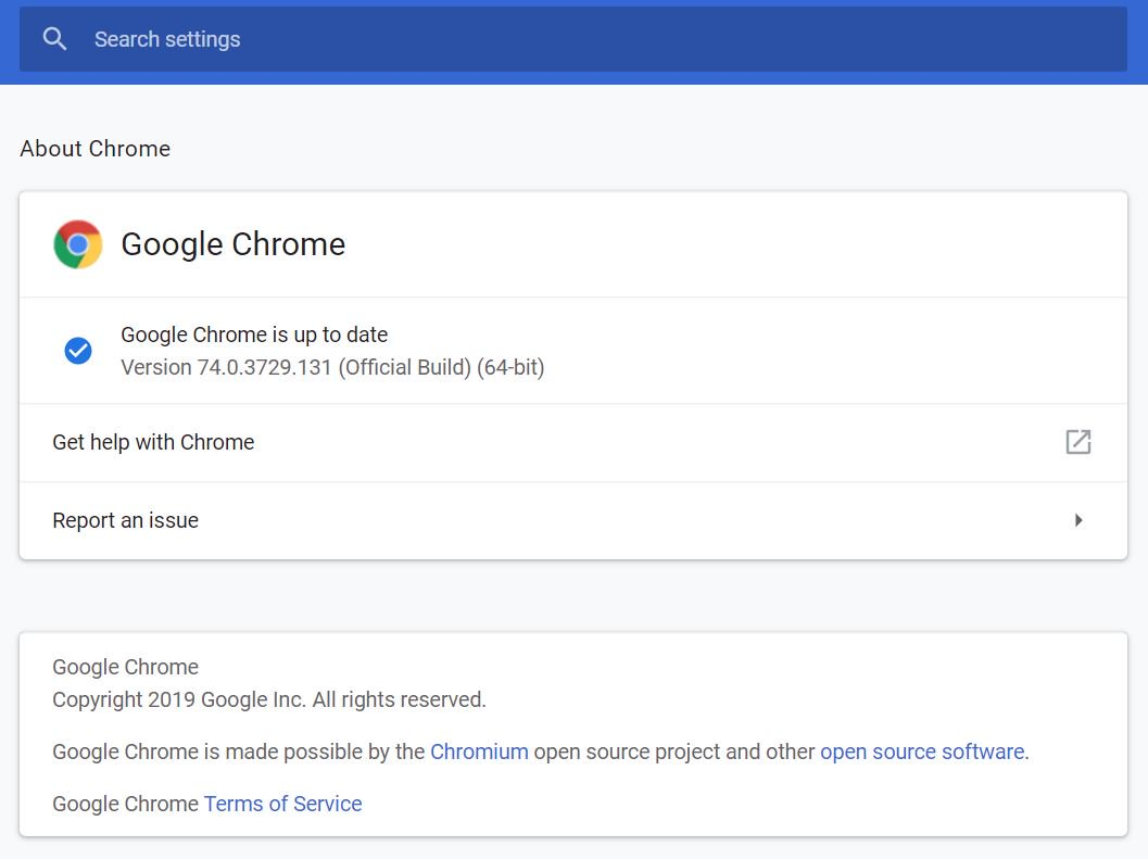 Phiên bản Chrome 74