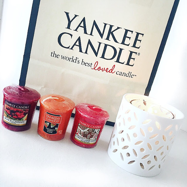 yankee candle haul candy cane lane candy corn black cherry fireside treats autumn winter candles