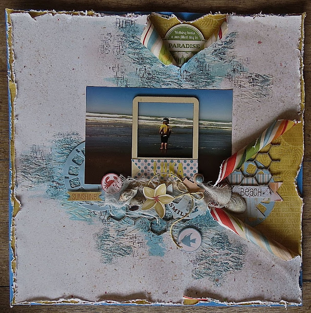 A Day at the Beach by Megan Gourlay for BoBunny using Beach Therapy & Picture This Die