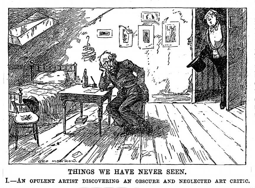 "a 1911 George Morrow cartoon about artist and art critic, ""THINGS WE HAVE NEVER SEEN"""
