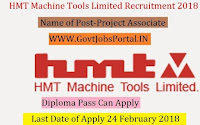 HMT Machine Tools Limited Recruitment 2018 –Project Associate