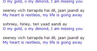 Bollywood songs: Soniye Hiriye Lyrics in English Translation Meaning