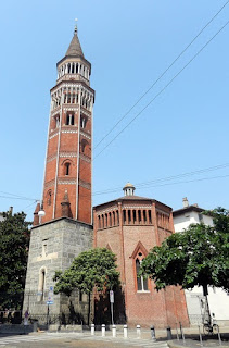 The bell tower of the church of San Gottardo in Corte in Milan