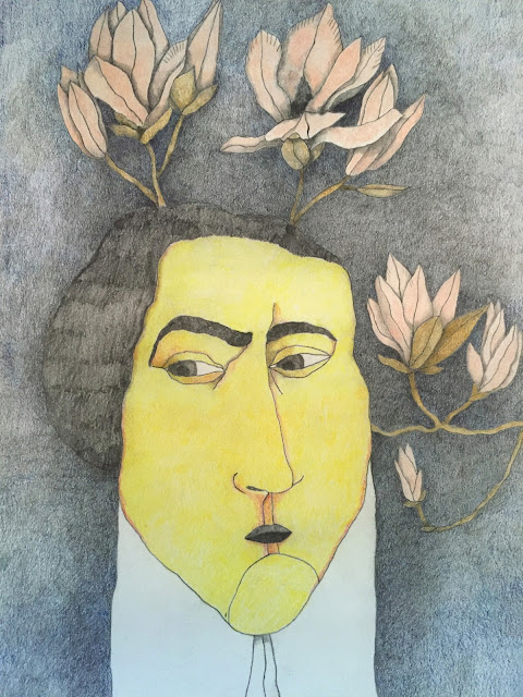 Retrato histórico. Ilustración de hombre. Lápices de Colores. Grafito.