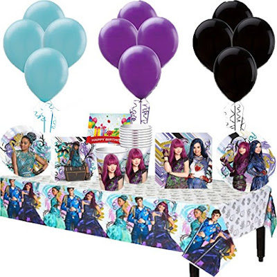 Disney Descendants 2 Party Package with balloons, table covers, cups, plates and more