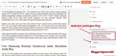 Cara Memasang Deskripsi Penelusuran Postingan blog
