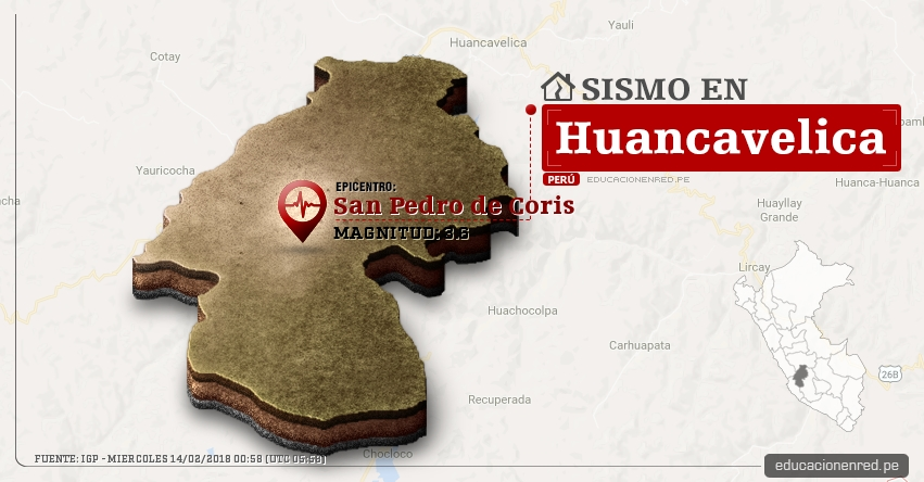 Temblor en Huancavelica de magnitud 3.6 (Hoy Miércoles 14 Febrero 2018) Sismo EPICENTRO San Pedro de Coris - Churcampa - IGP - www.igp.gob.pe