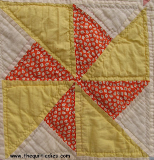 Pin Wheel Quilt Pattern Block in Yellow and Orange