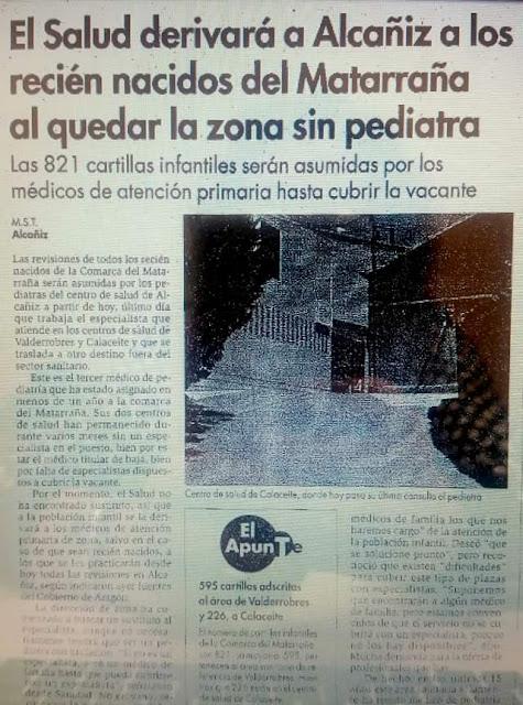 El Salud derivará a Alcañiz a los recién nacidos del Matarraña al quedar la zona sin pediatra