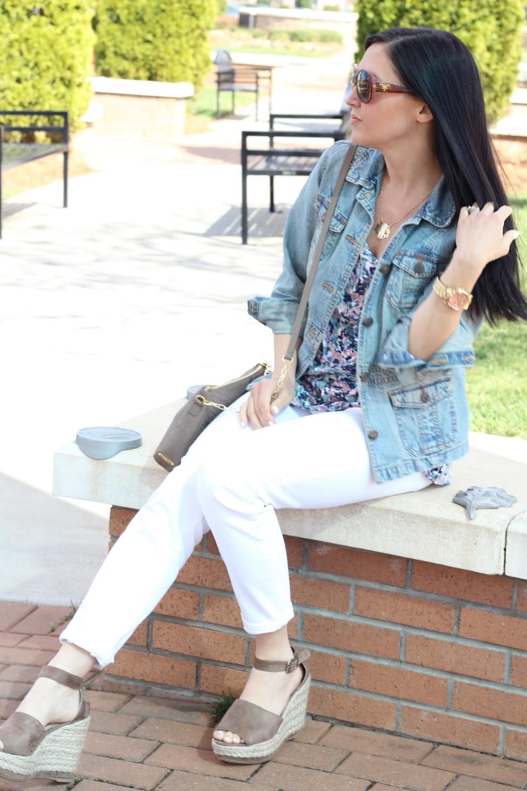 Floral Cold Shoulder, White Skinnies and Denim for Spring, Prada Sunglasses, Espadrilles