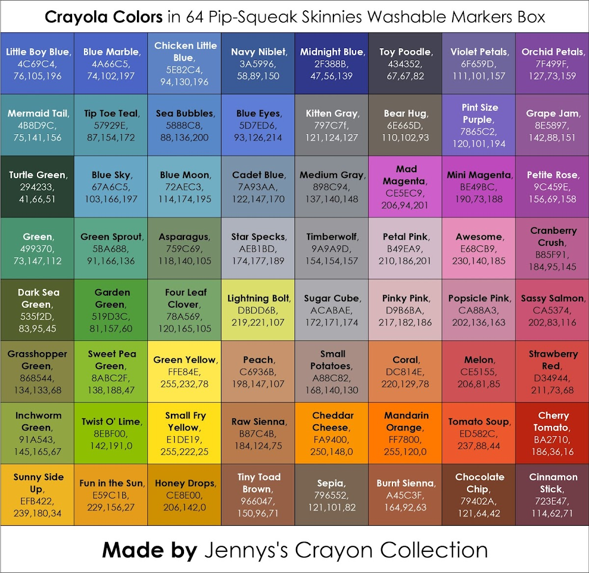 Turquoise Color Shades With Hex And Rgb Decimal Color: List Of Current Crayola Marker Colors