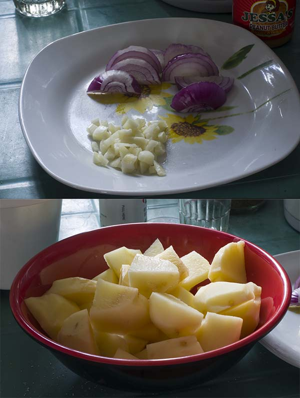 Prepared potatoes, onions, and garlic