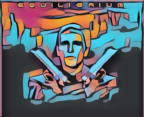 """Equilibrium mostra um futuro situado após uma eventual Terceira Guerra Mundial. A sociedade vive sob um regime totalitário que, no entanto, aboliu a maior parte dos crimes e infrações do cidadão comum, restando de criminosos praticamente apenas os """"rebeldes"""" que são contrários ao sistema."""