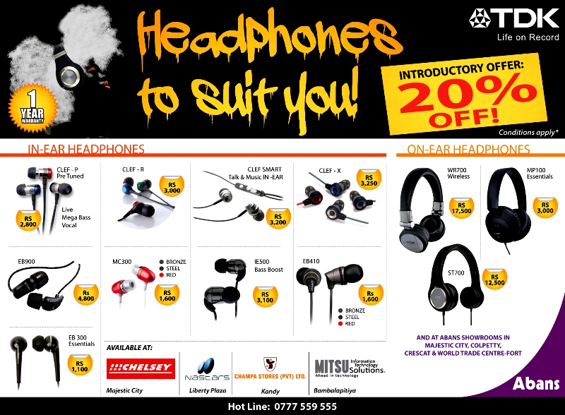 20% off on TDK Range of Headphones! ~ Dailymail lk