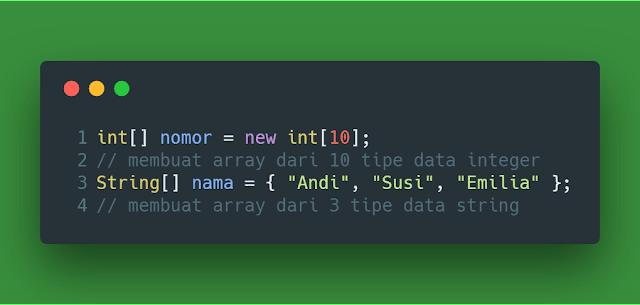 Contoh definisi nilai array java