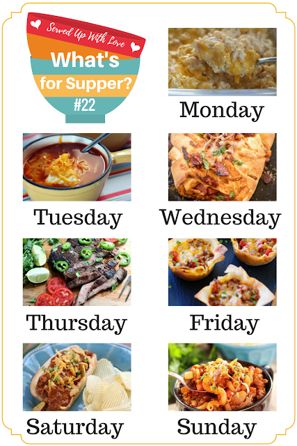 Lots of easy and delicious recipes at What's for Supper Sunday. Including Hawaiian BBQ Pizza Braid, Taco Cups, Crock Pot Chili Cheese Dogs, and so much more.