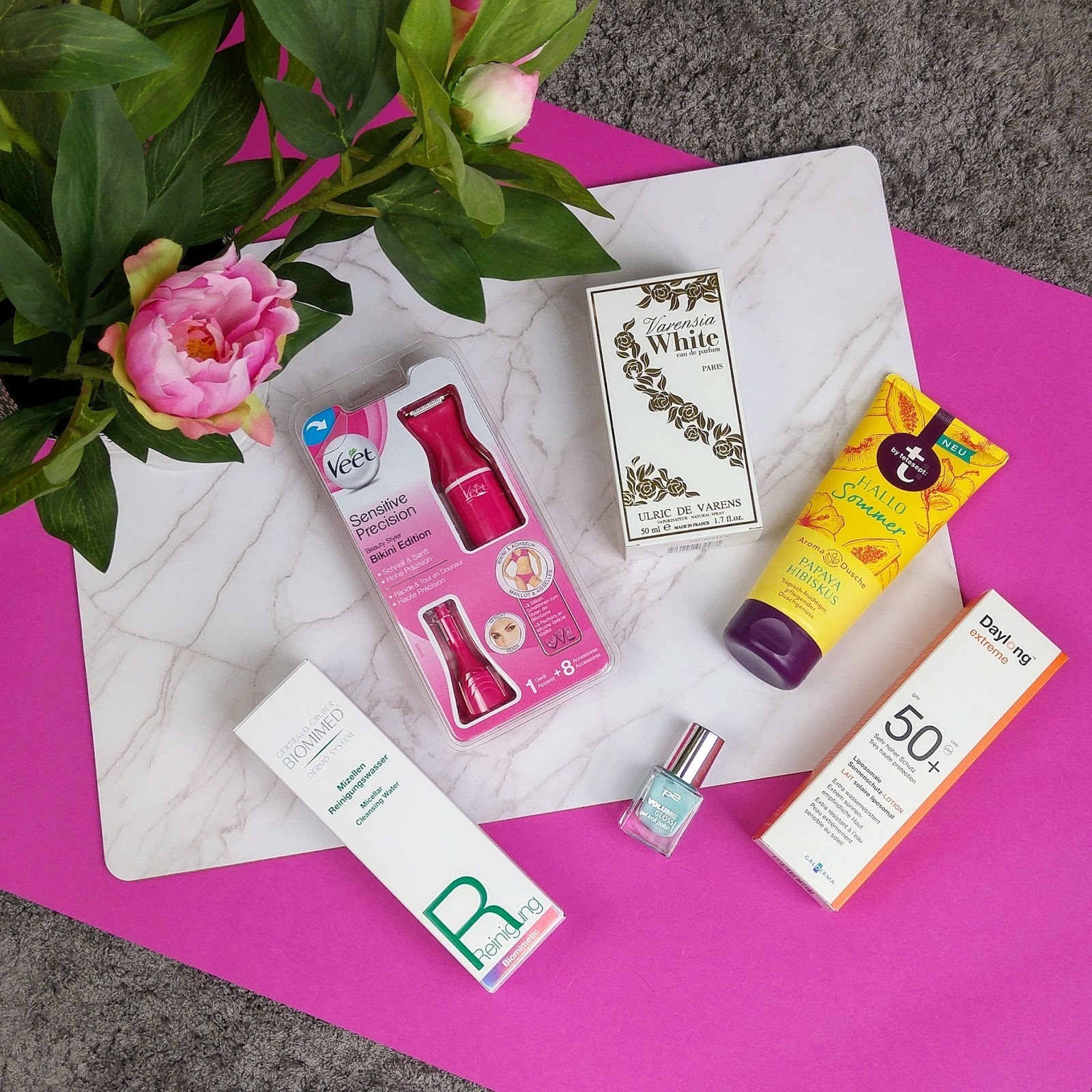 beauty blogger, beautypress, biomimed mizellen reinigungswasser, bloggerevent, daylong, news box, p2 cosmetics, tetesept, ulric de varens, varensia white, veet sensitive precision beauty styler bikini edition,