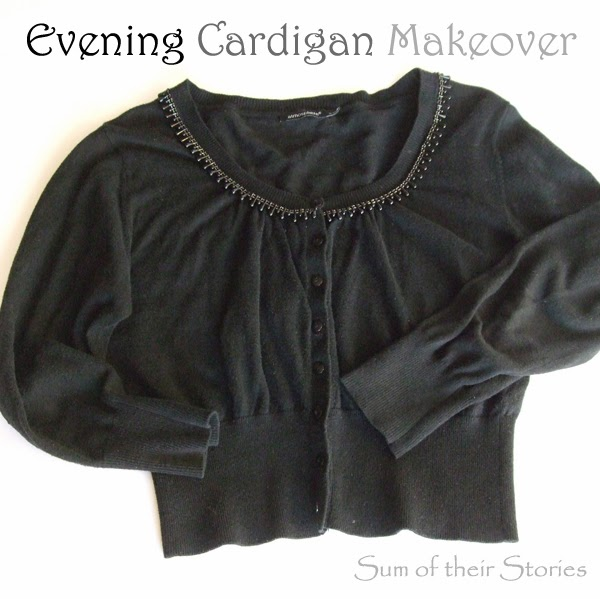 plain cardigan to evening cardigan refashion