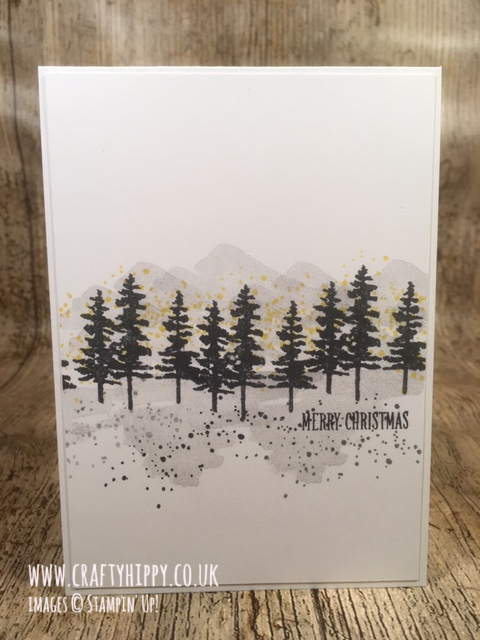 Simple monochromatic forest style Christmas card made with the Waterfront Stamp Set by Stampin' Up!