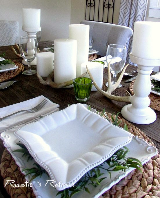 White dishes in a gorgeous summer table setting