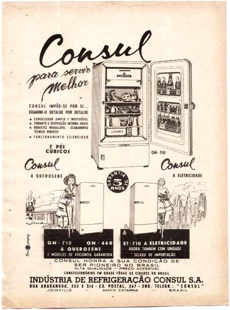Propagada de 1957 apresentando seu modelo robusto de refrigerador