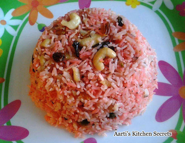 Rooh Afza and Coconut Flavoured Sweet Pulao