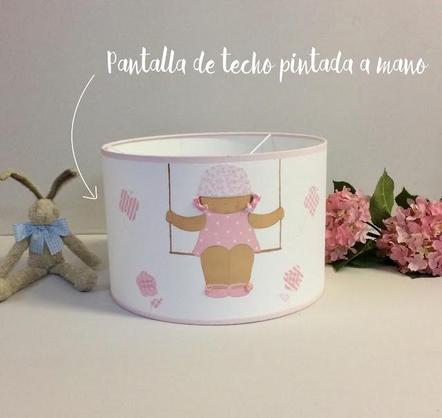 pantalla para lámpara infantil pintada a mano y con telas