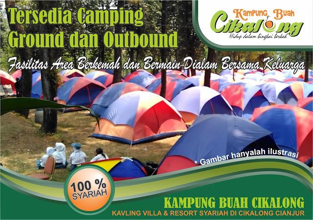 Fasilitas area berkemah dan camping di kampung buah cikalong