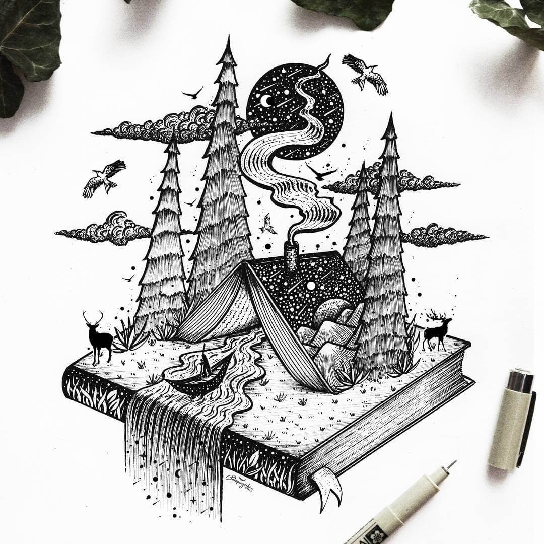 11-A-Frame-Book-House-Meni-Chatzipanagiotou-Fantasy-and-Surrealism-in-Ink-Illustrations-www-designstack-co