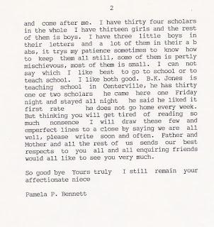 Pamela P Bennett's letter to Keziah (Bennett) Kimber June 1, 1856, page 2