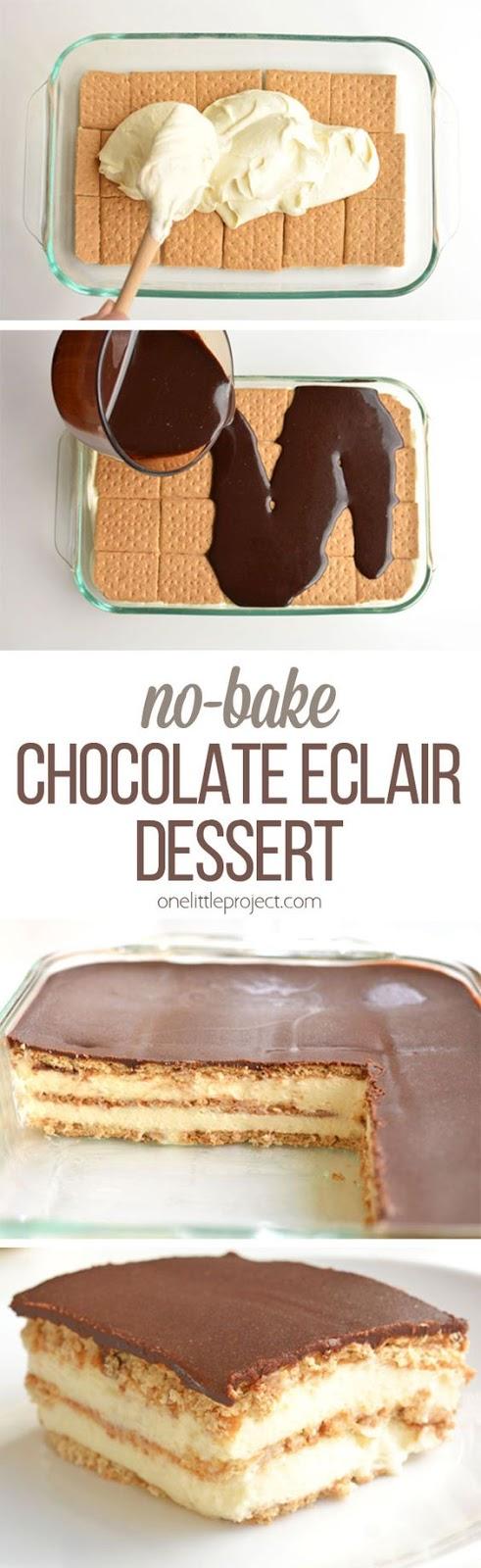 No-Bake Chocolate Eclair Cake | GIRLS DISH