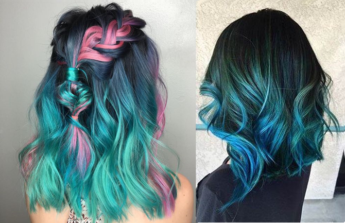 Cabelos coloridos de sereia