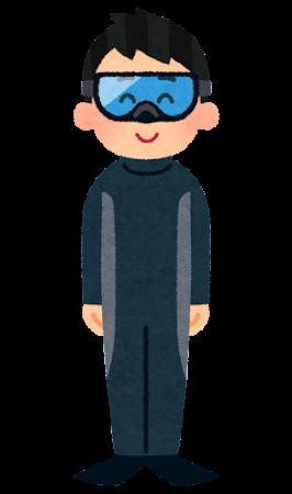 ウェットスーツとフィンとゴーグルを着た人のイラスト(男性)